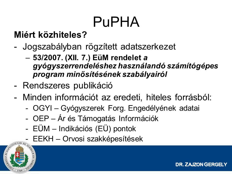 DR. Z AJZON G ERGELY PuPHA Miért közhiteles? -Jogszabályban rögzített adatszerkezet –53/2007. (XII. 7.) EüM rendelet a gyógyszerrendeléshez használand