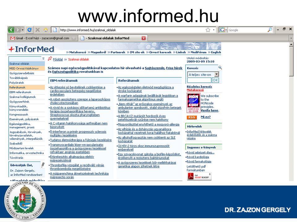 DR. Z AJZON G ERGELY www.informed.hu