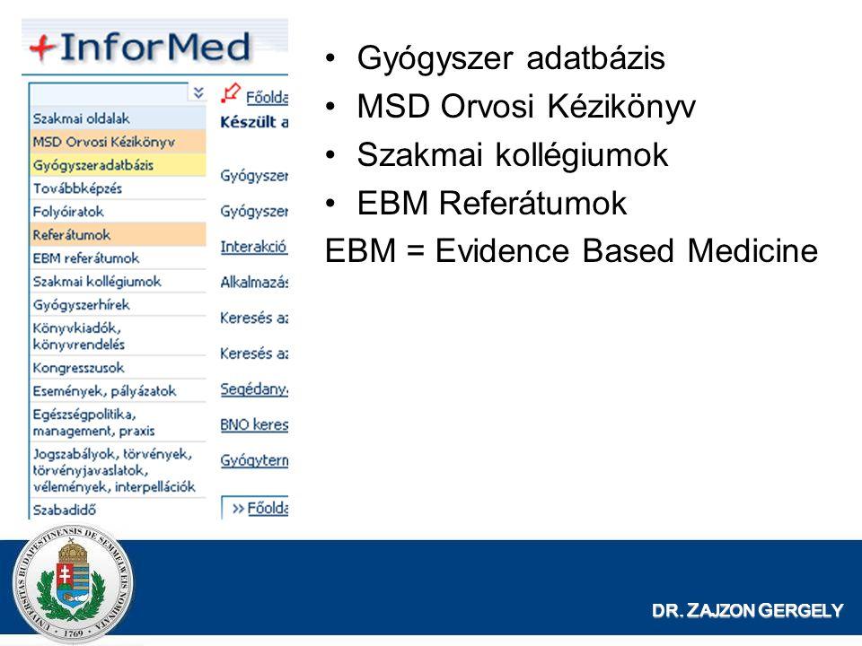 DR. Z AJZON G ERGELY Gyógyszer adatbázis MSD Orvosi Kézikönyv Szakmai kollégiumok EBM Referátumok EBM = Evidence Based Medicine