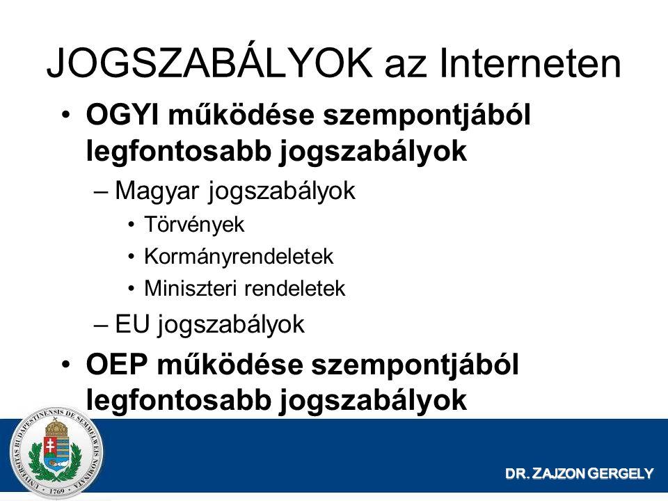 JOGSZABÁLYOK az Interneten OGYI működése szempontjából legfontosabb jogszabályok –Magyar jogszabályok Törvények Kormányrendeletek Miniszteri rendelete