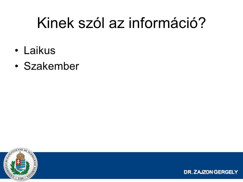 DR. Z AJZON G ERGELY Kinek szól az információ? Laikus Szakember