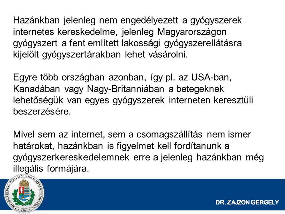 DR. Z AJZON G ERGELY Hazánkban jelenleg nem engedélyezett a gyógyszerek internetes kereskedelme, jelenleg Magyarországon gyógyszert a fent említett la