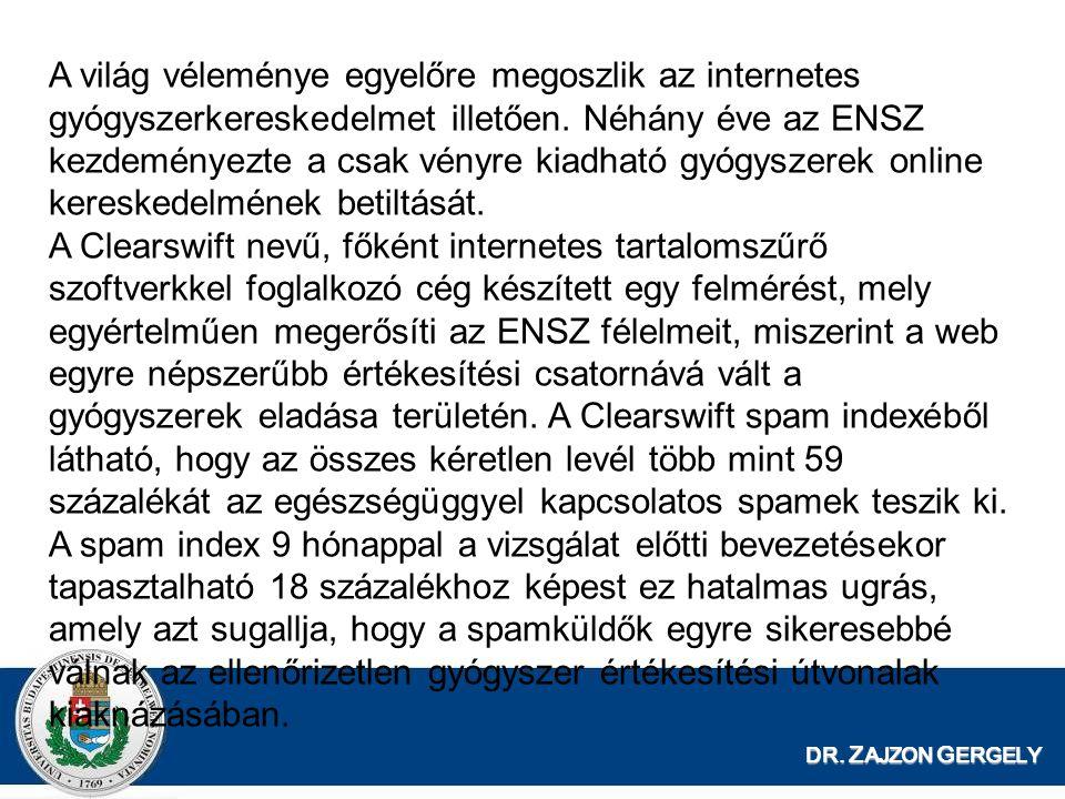 DR. Z AJZON G ERGELY A világ véleménye egyelőre megoszlik az internetes gyógyszerkereskedelmet illetően. Néhány éve az ENSZ kezdeményezte a csak vényr
