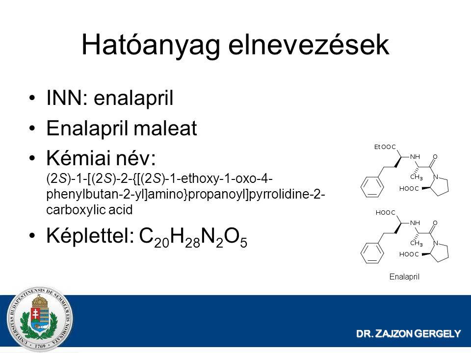 DR. Z AJZON G ERGELY Hatóanyag elnevezések INN: enalapril Enalapril maleat Kémiai név: (2S)-1-[(2S)-2-{[(2S)-1-ethoxy-1-oxo-4- phenylbutan-2-yl]amino}