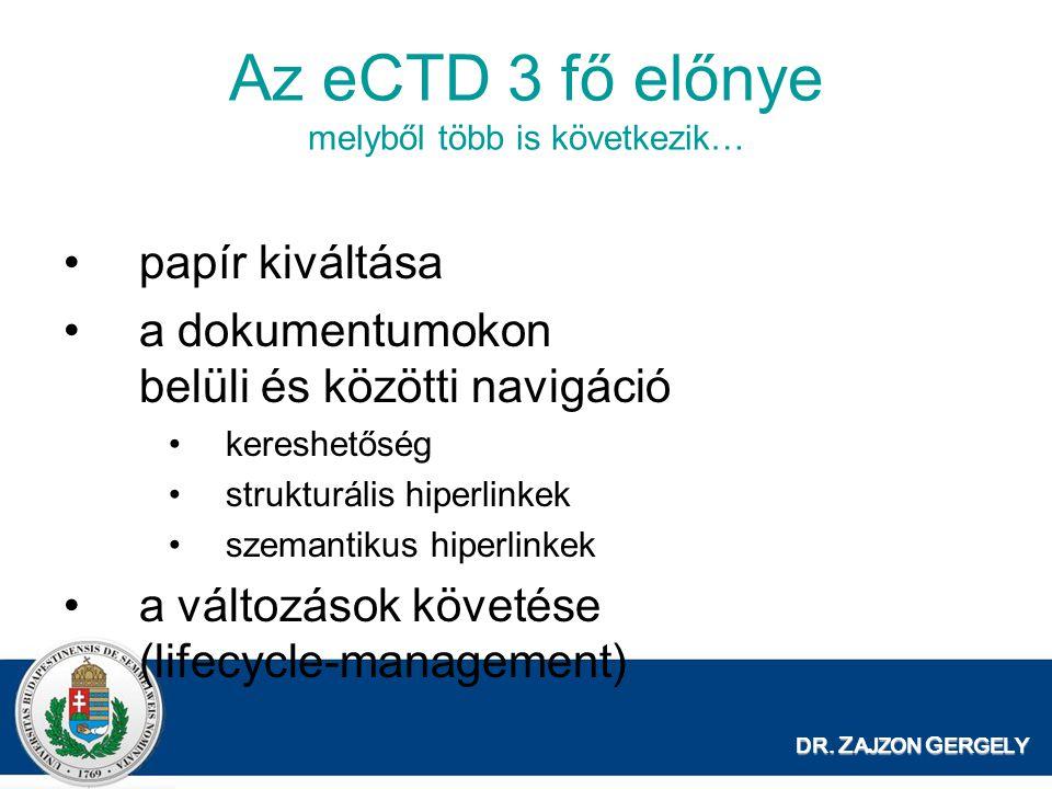 DR. Z AJZON G ERGELY Az eCTD 3 fő előnye melyből több is következik… papír kiváltása a dokumentumokon belüli és közötti navigáció kereshetőség struktu