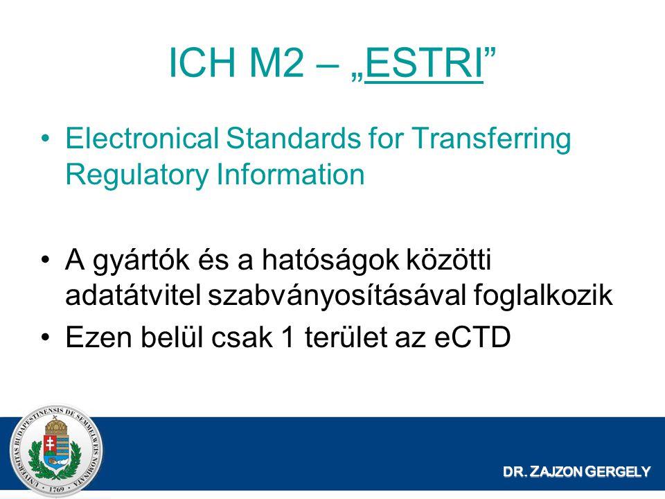 """DR. Z AJZON G ERGELY ICH M2 – """"ESTRI""""ESTRI Electronical Standards for Transferring Regulatory Information A gyártók és a hatóságok közötti adatátvitel"""