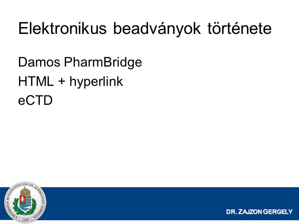 DR. Z AJZON G ERGELY Elektronikus beadványok története Damos PharmBridge HTML + hyperlink eCTD