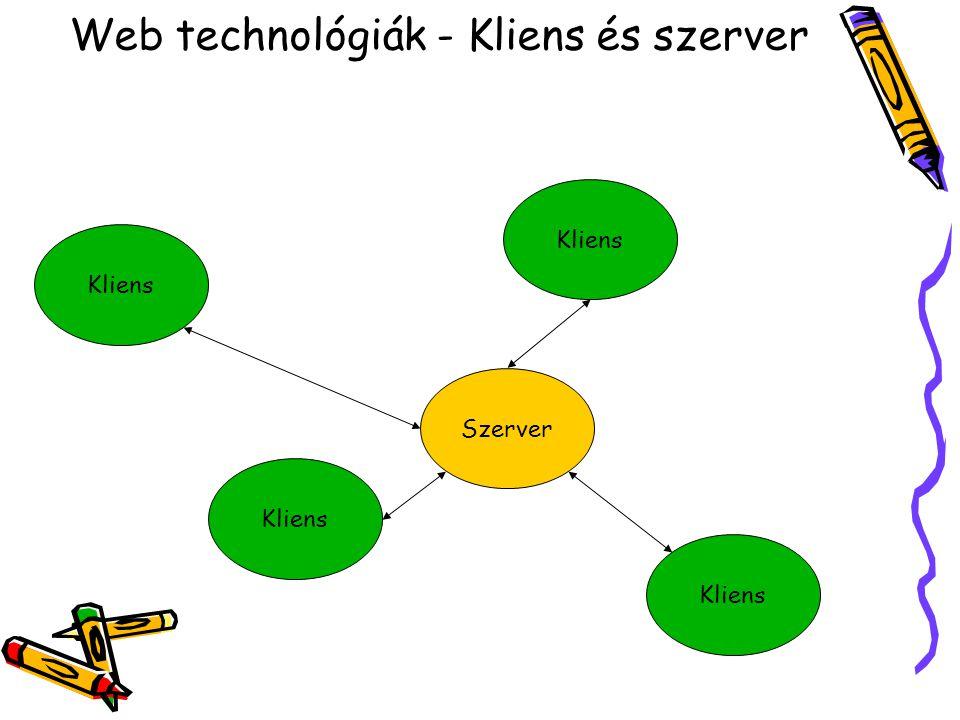 Web technológiák - Kliens és szerver Szerver Kliens