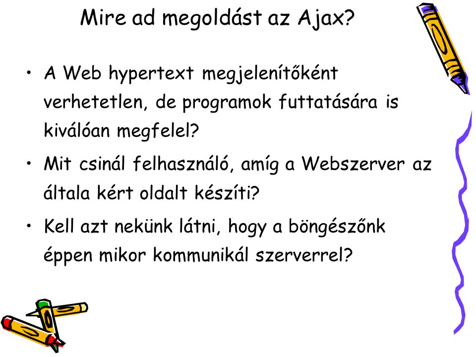 Mire ad megoldást az Ajax.