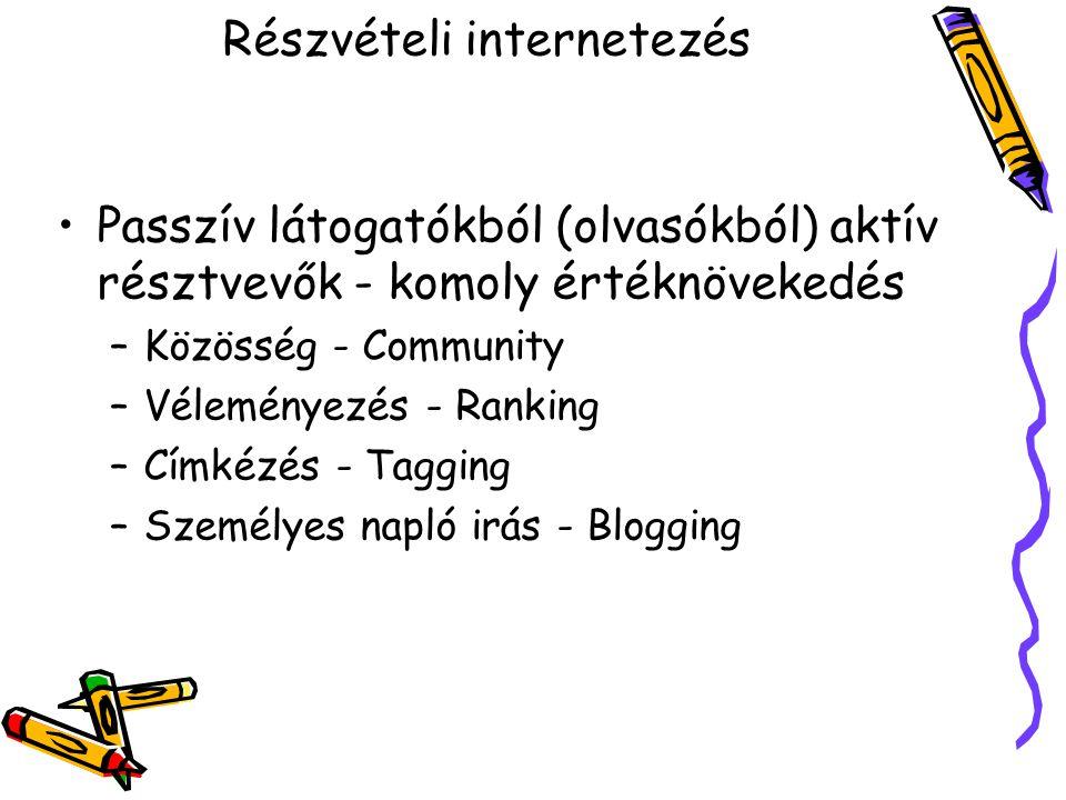 Részvételi internetezés Passzív látogatókból (olvasókból) aktív résztvevők - komoly értéknövekedés –Közösség - Community –Véleményezés - Ranking –Címkézés - Tagging –Személyes napló irás - Blogging