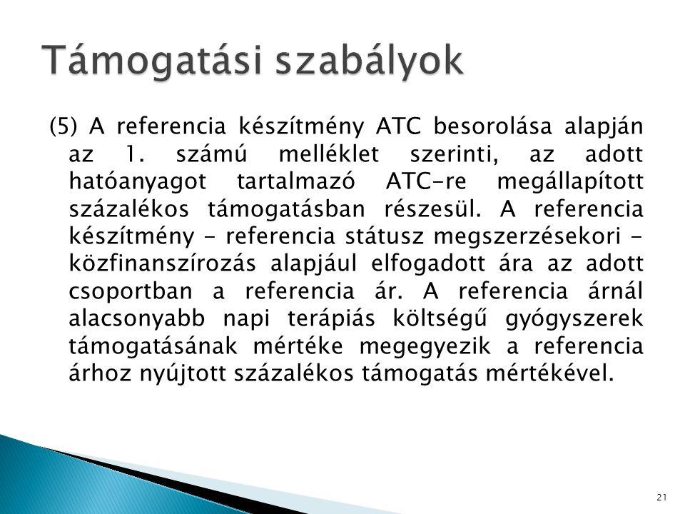 (5) A referencia készítmény ATC besorolása alapján az 1.
