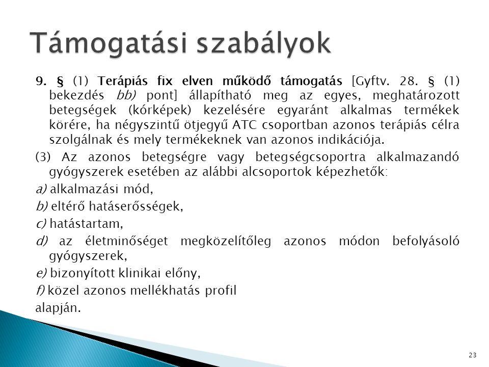 9.§ (1) Terápiás fix elven működő támogatás [Gyftv.