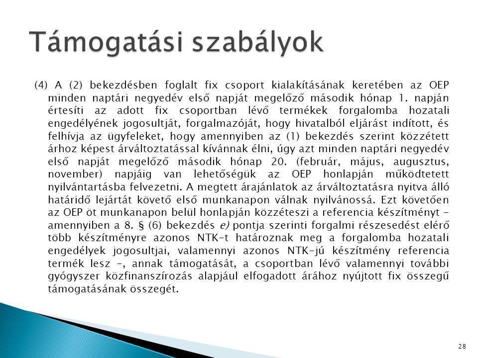 (4) A (2) bekezdésben foglalt fix csoport kialakításának keretében az OEP minden naptári negyedév első napját megelőző második hónap 1.