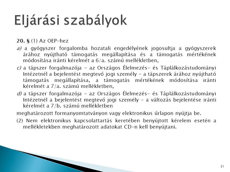 20. § (1) Az OEP-hez a) a gyógyszer forgalomba hozatali engedélyének jogosultja a gyógyszerek árához nyújtható támogatás megállapítása és a támogatás