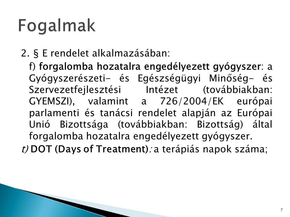 2. § E rendelet alkalmazásában: f) forgalomba hozatalra engedélyezett gyógyszer: a Gyógyszerészeti- és Egészségügyi Minőség- és Szervezetfejlesztési I