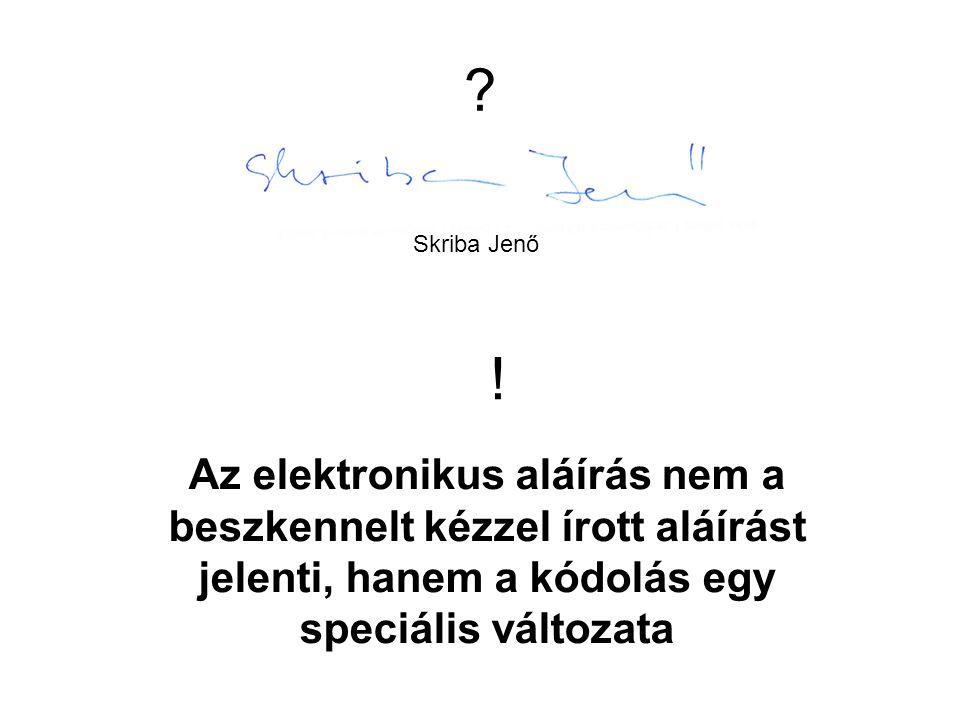 ? Skriba Jenő Az elektronikus aláírás nem a beszkennelt kézzel írott aláírást jelenti, hanem a kódolás egy speciális változata !
