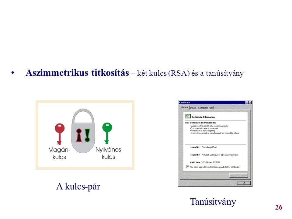 Kriptográfiai alapismeretek Aszimmetrikus titkosítás – két kulcs (RSA) és a tanúsítvány A kulcs-pár Tanúsítvány 26