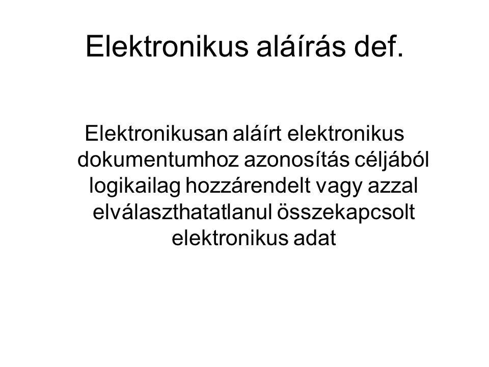 Elektronikus aláírás def. Elektronikusan aláírt elektronikus dokumentumhoz azonosítás céljából logikailag hozzárendelt vagy azzal elválaszthatatlanul