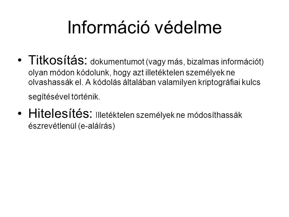Információ védelme Titkosítás: dokumentumot (vagy más, bizalmas információt) olyan módon kódolunk, hogy azt illetéktelen személyek ne olvashassák el.
