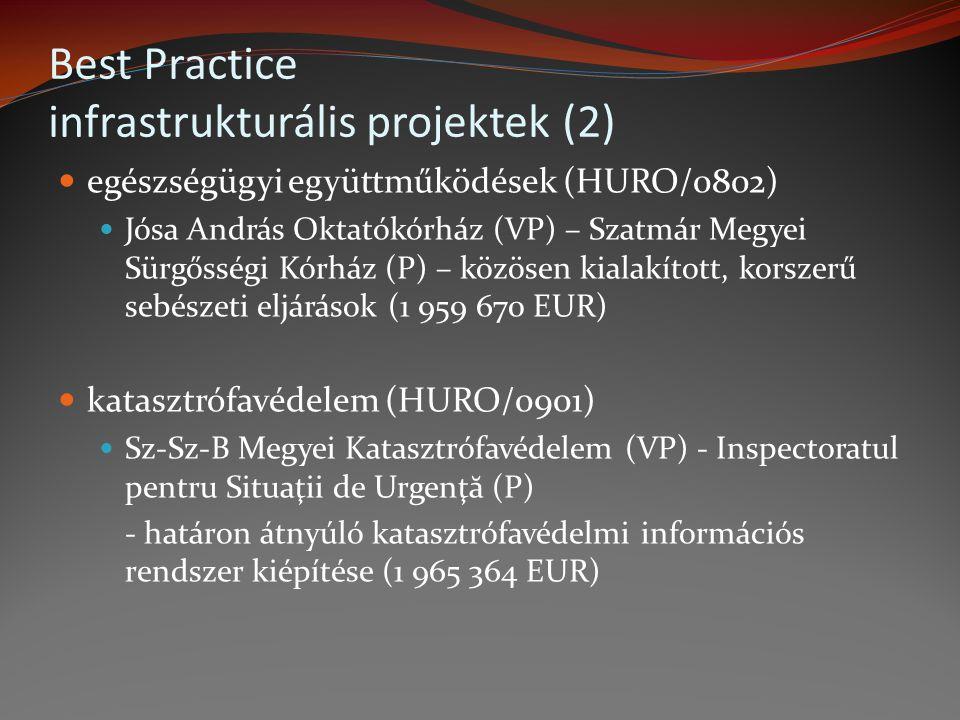 egészségügyi együttműködések (HURO/0802) Jósa András Oktatókórház (VP) – Szatmár Megyei Sürgősségi Kórház (P) – közösen kialakított, korszerű sebészet