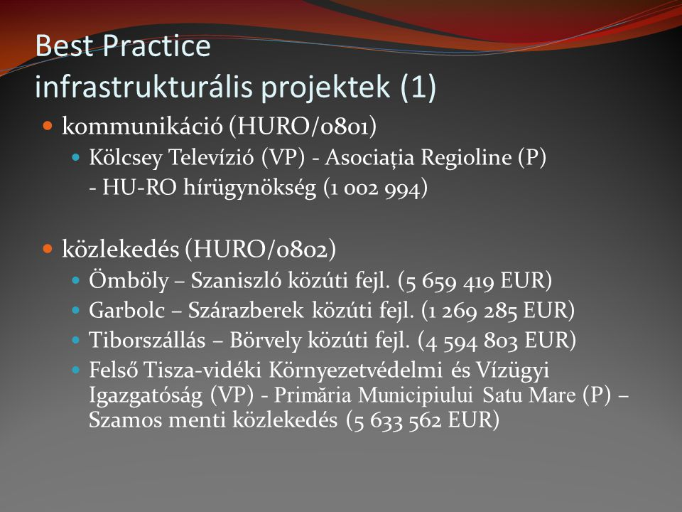 kommunikáció (HURO/0801) Kölcsey Televízió (VP) - Asociaţia Regioline (P) - HU-RO hírügynökség (1 002 994) közlekedés (HURO/0802) Ömböly – Szaniszló k