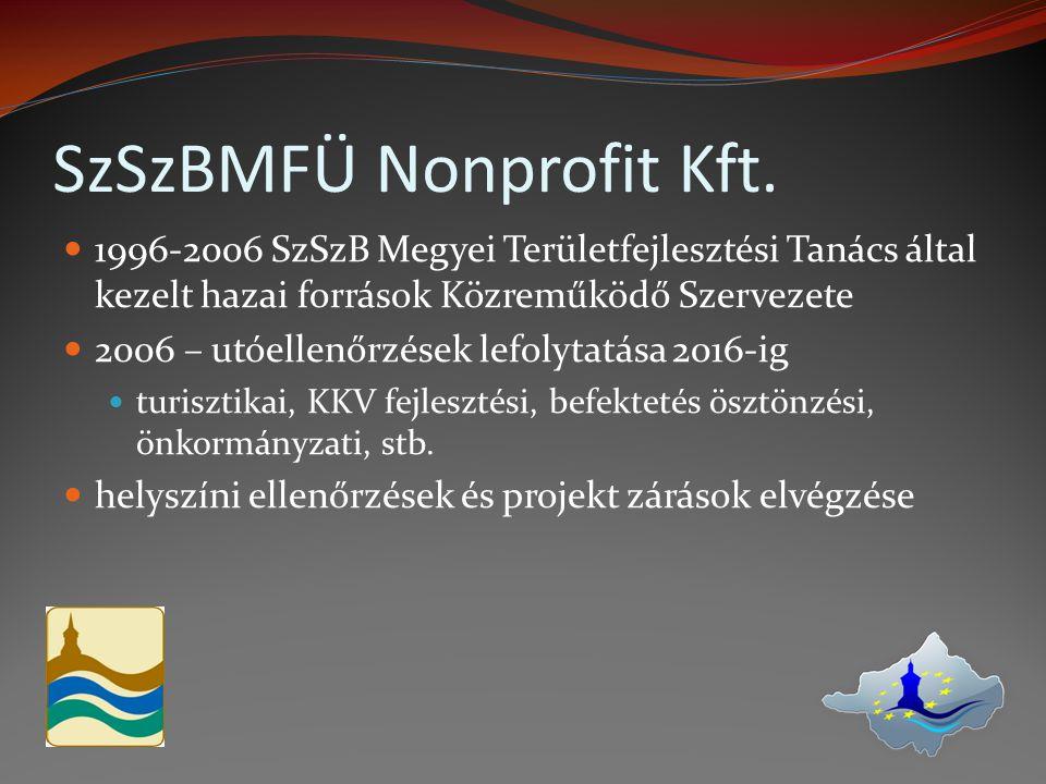 1996-2006 SzSzB Megyei Területfejlesztési Tanács által kezelt hazai források Közreműködő Szervezete 2006 – utóellenőrzések lefolytatása 2016-ig turisz
