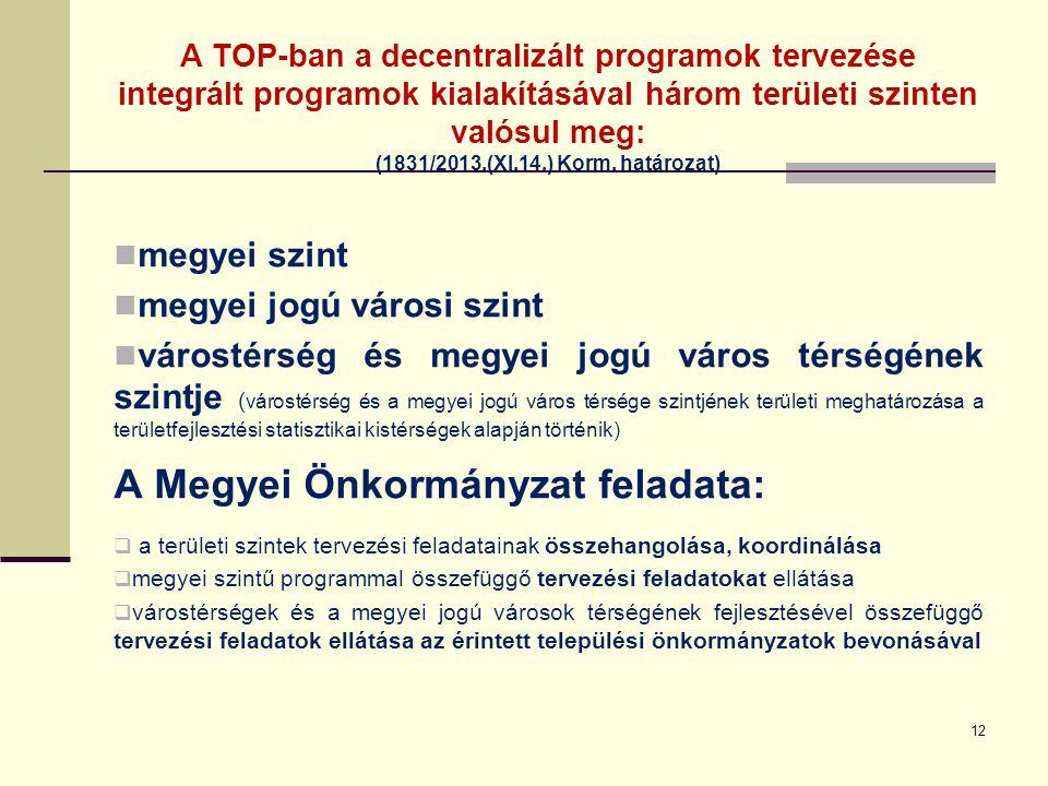 A TOP-ban a decentralizált programok tervezése integrált programok kialakításával három területi szinten valósul meg: (1831/2013.(XI.14.) Korm. határo