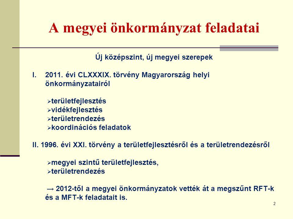 A megyei önkormányzat feladatai 2 Új középszint, új megyei szerepek I.2011. évi CLXXXIX. törvény Magyarország helyi önkormányzatairól  területfejlesz