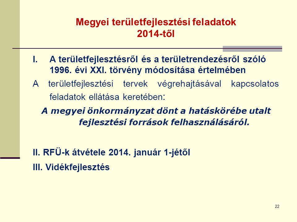 Megyei területfejlesztési feladatok 2014-től I.A területfejlesztésről és a területrendezésről szóló 1996. évi XXI. törvény módosítása értelmében A ter