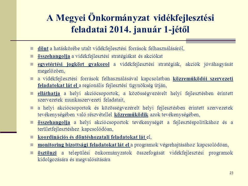 A Megyei Önkormányzat vidékfejlesztési feladatai 2014. január 1-jétől dönt a hatáskörébe utalt vidékfejlesztési források felhasználásáról, összehangol