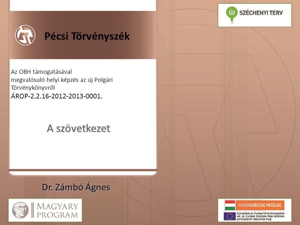 Pécsi Törvényszék Az OBH támogatásával megvalósuló helyi képzés az új Polgári Törvénykönyvről ÁROP-2.2.16-2012-2013-0001. A szövetkezet Dr. Zámbó Ágne