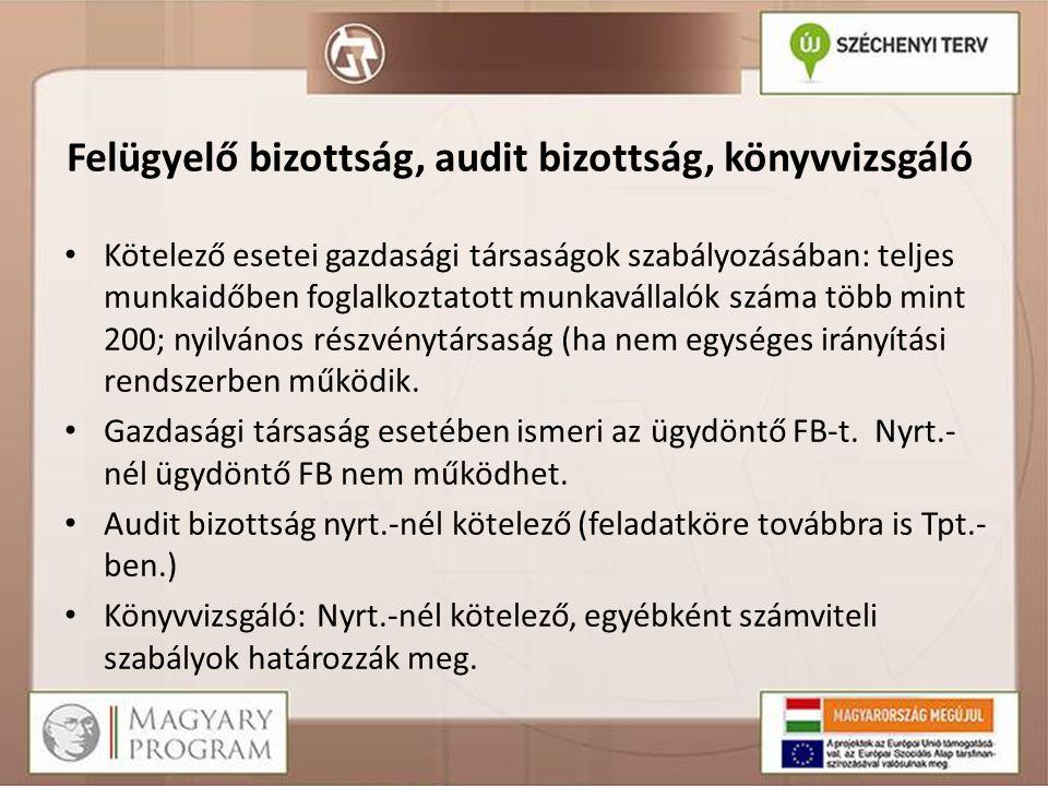 Felügyelő bizottság, audit bizottság, könyvvizsgáló Kötelező esetei gazdasági társaságok szabályozásában: teljes munkaidőben foglalkoztatott munkaváll