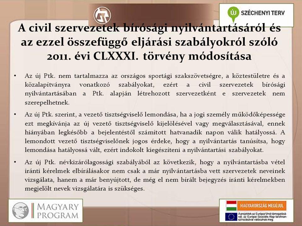 A civil szervezetek bírósági nyilvántartásáról és az ezzel összefüggő eljárási szabályokról szóló 2011. évi CLXXXI. törvény módosítása Az új Ptk. nem