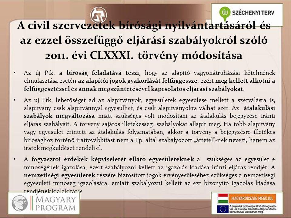 A civil szervezetek bírósági nyilvántartásáról és az ezzel összefüggő eljárási szabályokról szóló 2011. évi CLXXXI. törvény módosítása Az új Ptk. a bí