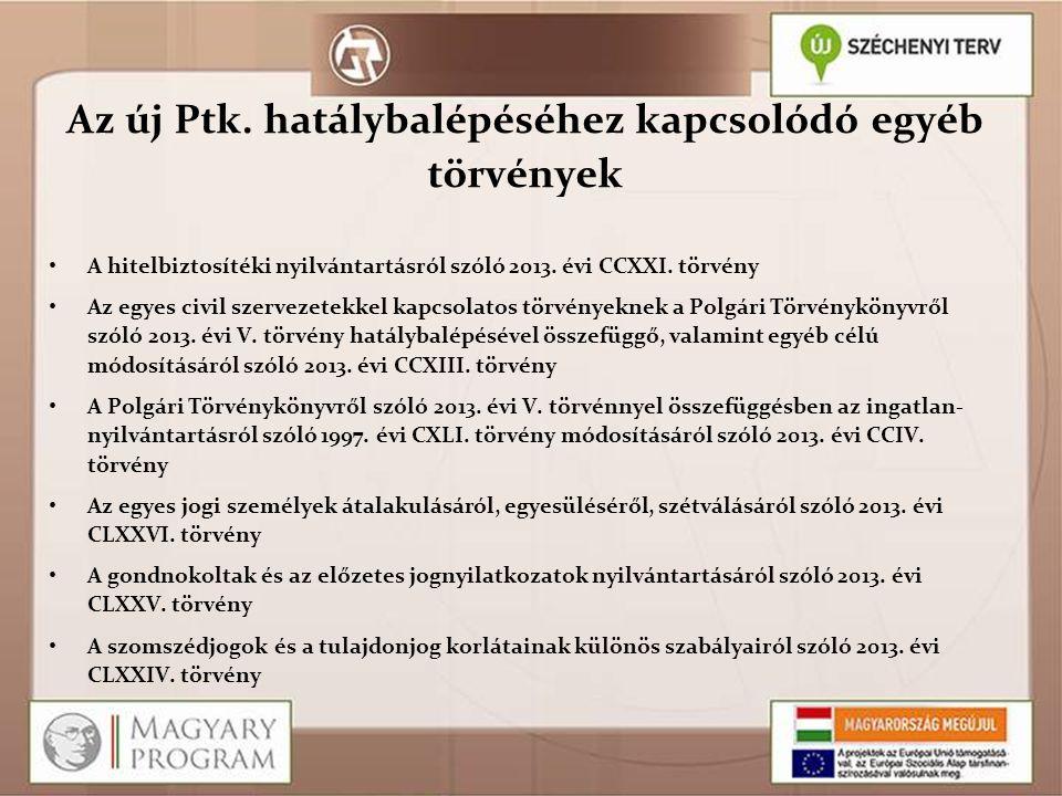Az új Ptk. hatálybalépéséhez kapcsolódó egyéb törvények A hitelbiztosítéki nyilvántartásról szóló 2013. évi CCXXI. törvény Az egyes civil szervezetekk