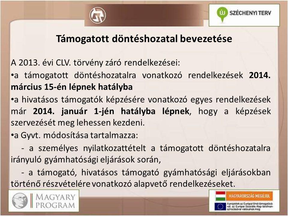 Támogatott döntéshozatal bevezetése A 2013. évi CLV. törvény záró rendelkezései: a támogatott döntéshozatalra vonatkozó rendelkezések 2014. március 15