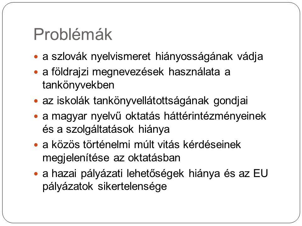 Problémák a szlovák nyelvismeret hiányosságának vádja a földrajzi megnevezések használata a tankönyvekben az iskolák tankönyvellátottságának gondjai a magyar nyelvű oktatás háttérintézményeinek és a szolgáltatások hiánya a közös történelmi múlt vitás kérdéseinek megjelenítése az oktatásban a hazai pályázati lehetőségek hiánya és az EU pályázatok sikertelensége