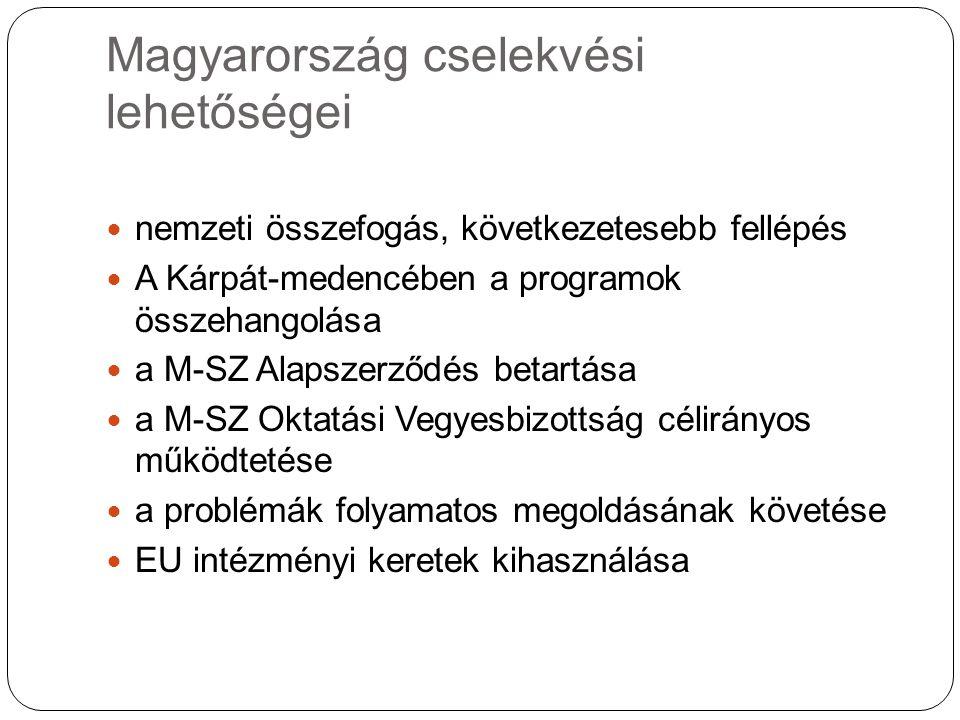Magyarország cselekvési lehetőségei nemzeti összefogás, következetesebb fellépés A Kárpát-medencében a programok összehangolása a M-SZ Alapszerződés betartása a M-SZ Oktatási Vegyesbizottság célirányos működtetése a problémák folyamatos megoldásának követése EU intézményi keretek kihasználása