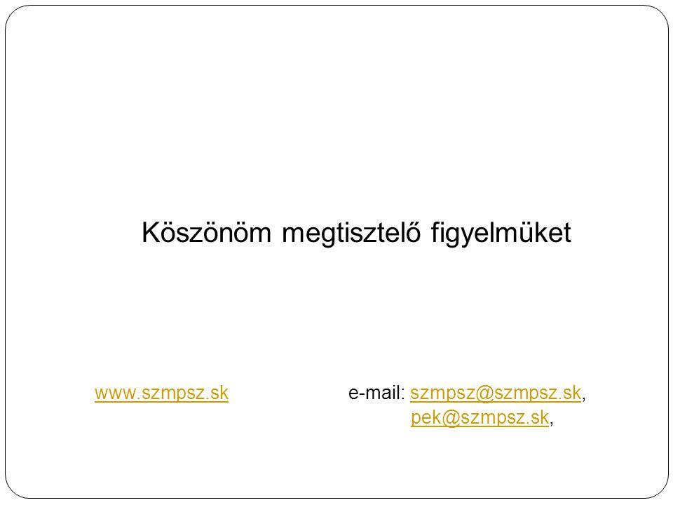 Köszönöm megtisztelő figyelmüket www.szmpsz.skwww.szmpsz.sk e-mail: szmpsz@szmpsz.sk, pek@szmpsz.sk,szmpsz@szmpsz.sk pek@szmpsz.sk