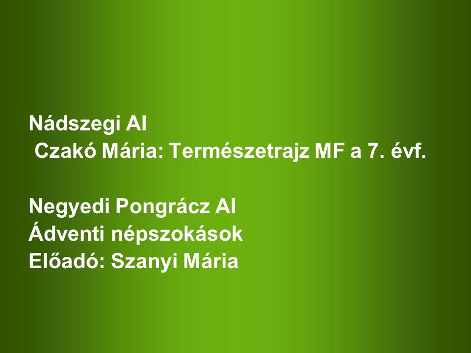 Nádszegi AI Czakó Mária: Természetrajz MF a 7. évf. Negyedi Pongrácz AI Ádventi népszokások Előadó: Szanyi Mária
