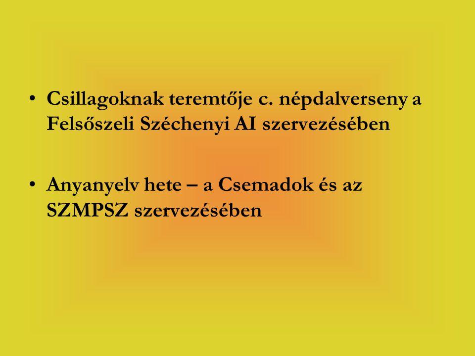 Csillagoknak teremtője c. népdalverseny a Felsőszeli Széchenyi AI szervezésében Anyanyelv hete – a Csemadok és az SZMPSZ szervezésében
