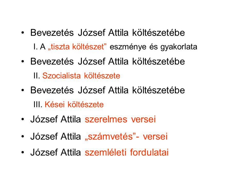 """Bevezetés József Attila költészetébe I. A """"tiszta költészet"""" eszménye és gyakorlata Bevezetés József Attila költészetébe II. Szocialista költészete Be"""