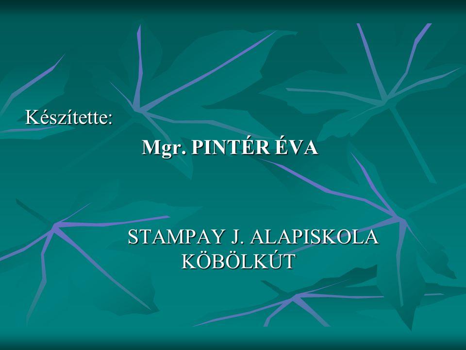 Készítette: Mgr. PINTÉR ÉVA STAMPAY J. ALAPISKOLA KÖBÖLKÚT STAMPAY J. ALAPISKOLA KÖBÖLKÚT