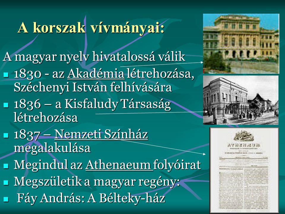 A magyar nyelv hivatalossá válik 1830 - az Akadémia létrehozása, Széchenyi István felhívására 1830 - az Akadémia létrehozása, Széchenyi István felhívá