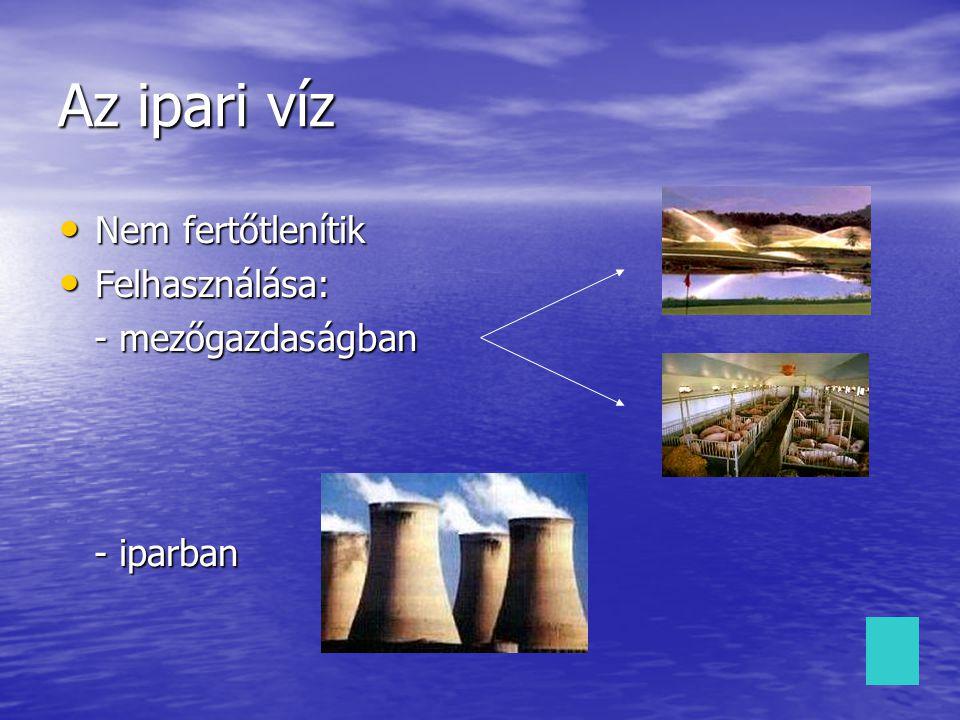 Az ipari víz Nem fertőtlenítik Nem fertőtlenítik Felhasználása: Felhasználása: - mezőgazdaságban - mezőgazdaságban - iparban - iparban