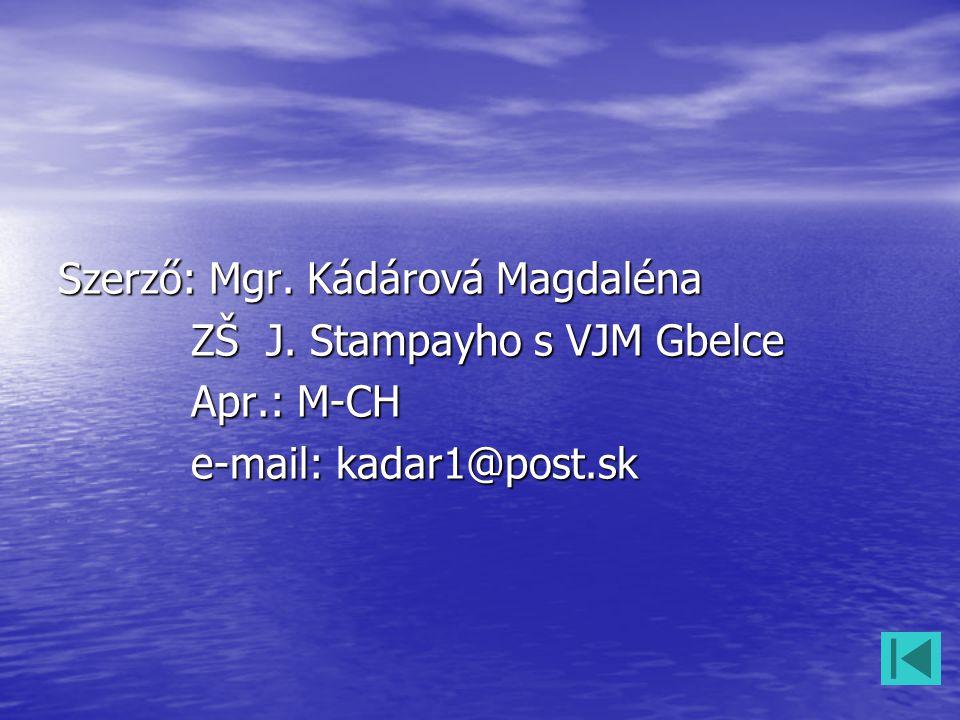 Szerző: Mgr. Kádárová Magdaléna ZŠ J. Stampayho s VJM Gbelce ZŠ J. Stampayho s VJM Gbelce Apr.: M-CH Apr.: M-CH e-mail: kadar1@post.sk e-mail: kadar1@