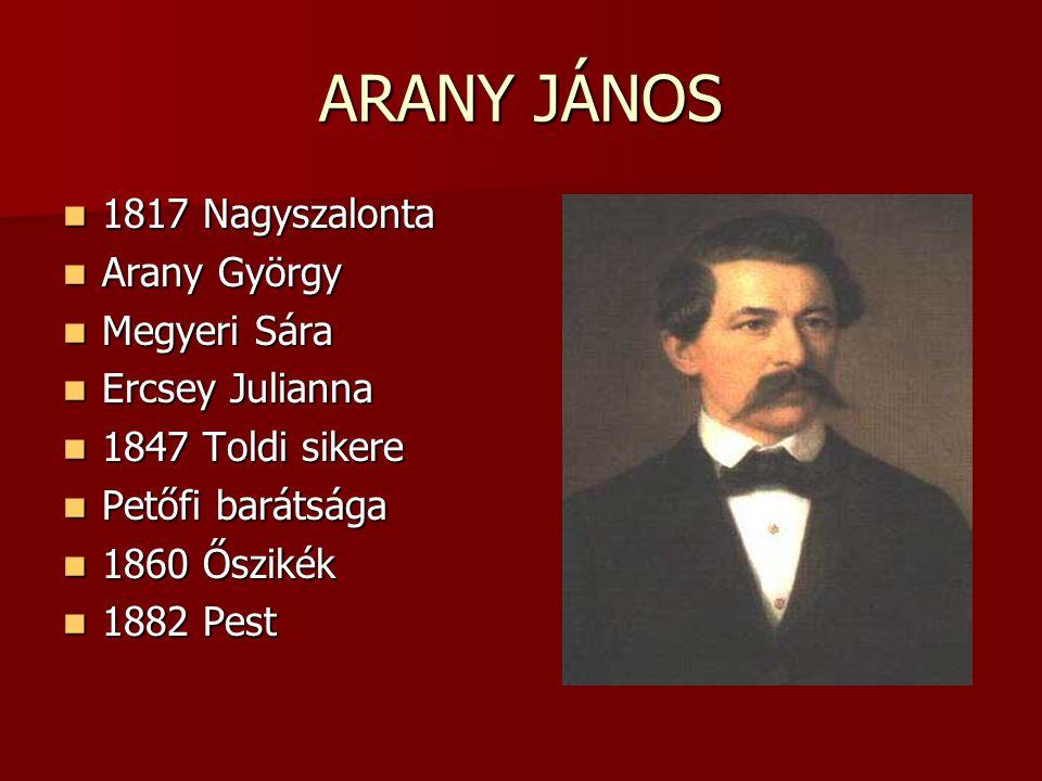 ARANY JÁNOS 1817 Nagyszalonta 1817 Nagyszalonta Arany György Arany György Megyeri Sára Megyeri Sára Ercsey Julianna Ercsey Julianna 1847 Toldi sikere
