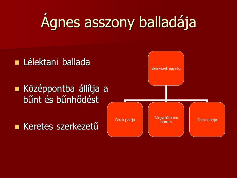 Ágnes asszony balladája Lélektani ballada Középpontba állítja a bűnt és bűnhődést Keretes szerkezetű Szerkezeti egység Patak partja Tárgyalóterem bört