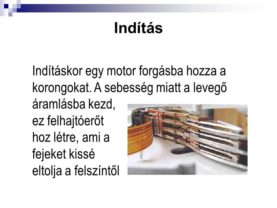 Indítás Indításkor egy motor forgásba hozza a korongokat. A sebesség miatt a levegő áramlásba kezd, ez felhajtóerőt hoz létre, ami a fejeket kissé elt