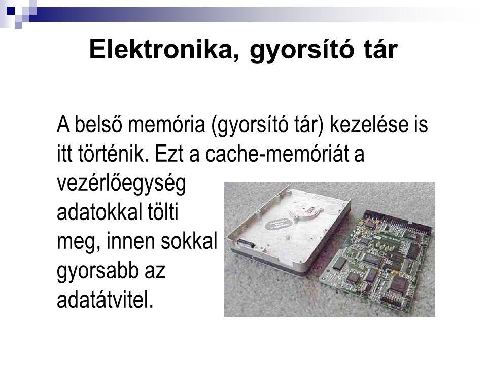 Elektronika, gyorsító tár A belső memória (gyorsító tár) kezelése is itt történik. Ezt a cache-memóriát a vezérlőegység adatokkal tölti meg, innen sok
